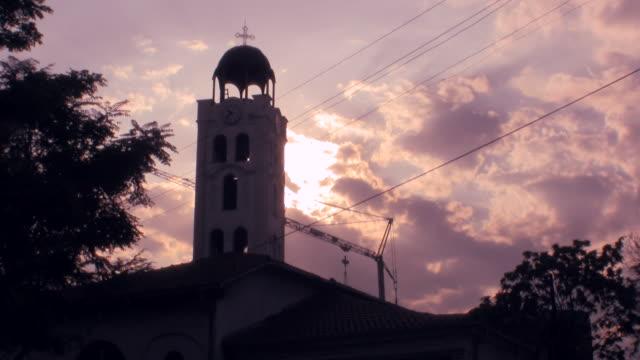ws silhouette of church at macedonia street / skopje, macedonia - skopje stock videos and b-roll footage