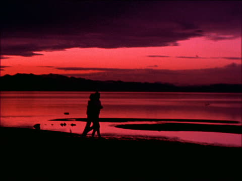 vídeos y material grabado en eventos de stock de silhouette of couple jogging near lake / lake tahoe, california - cinematografía