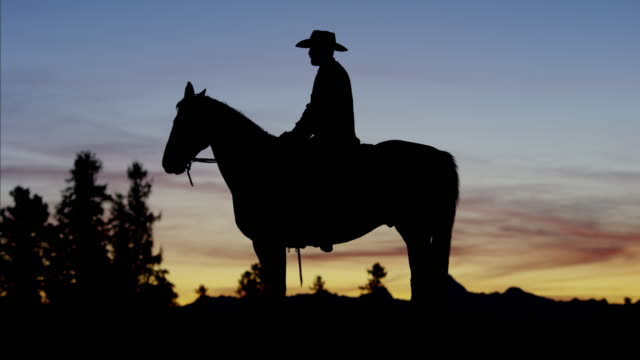 Silhouette of Cowboy at sunset Wild West Canada