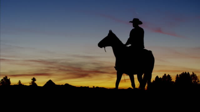 Silhouette of Cowboy Rider Ranch wilderness area Canada
