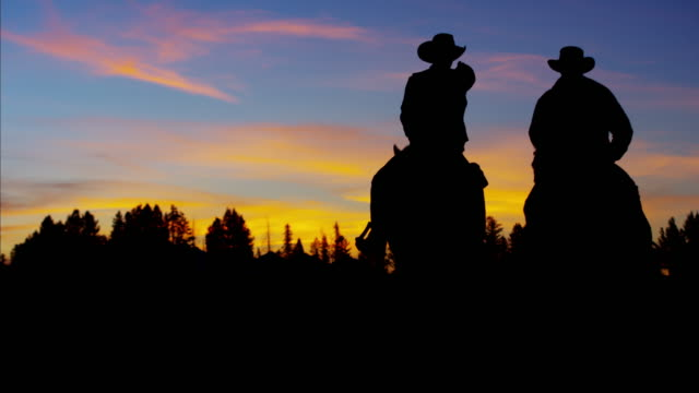Silhouette of Cowboy Riders forest wilderness area Canada