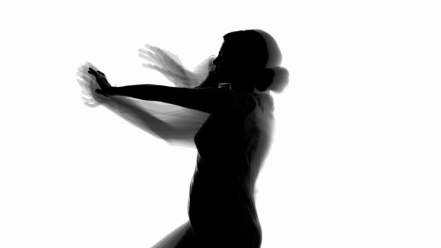 silhouette of dancing women - bianco e nero video stock e b–roll