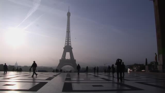 WS, Silhouette of Eiffel Tower against sky, Paris, France