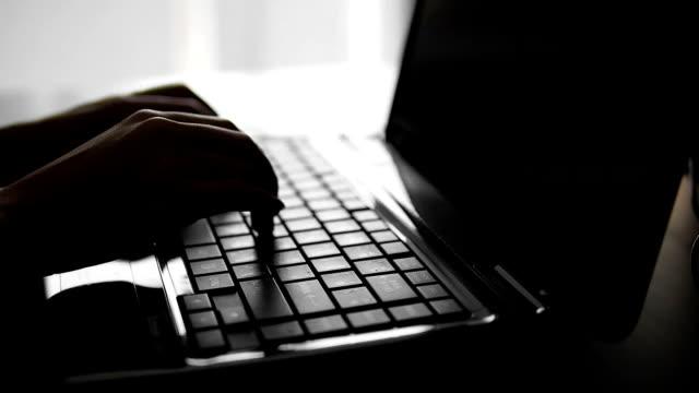 Silhouette di femmine mani digitando su un computer portatile