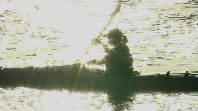 ms, silhouette of female kayaker padding on sea with sun reflection, florida, usa - oar stock videos & royalty-free footage