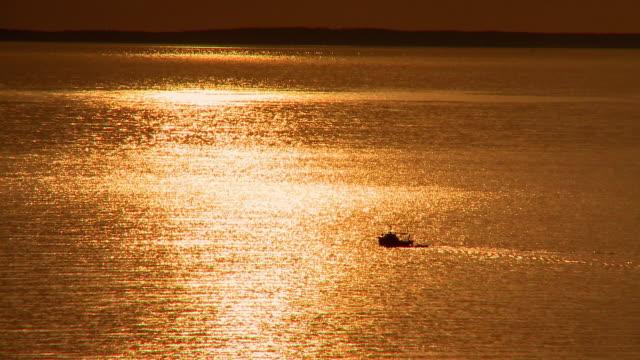 vídeos de stock, filmes e b-roll de ws silhouette of fishing boat crossing golden sea at sunset, cres, croatia - cres croácia