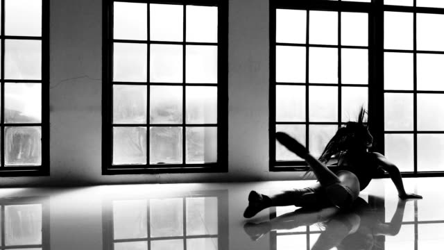 silhouette of girl power - rhythmic gymnastics stock videos & royalty-free footage