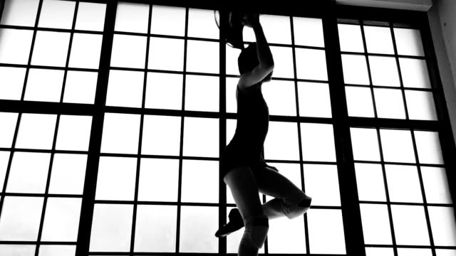 silhouette of girl power - dance studio stock videos & royalty-free footage