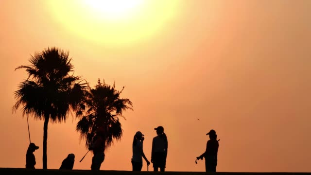 silhouette of group of friends walking on the golf course in the summer for relax time.silhouette golfer at sunset.sports cinemagraphs - golf swing silhouette stock videos & royalty-free footage