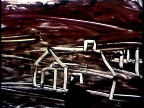 vidéos et rushes de 1969 silhouette of hand and finger painting houses - dessin enfant