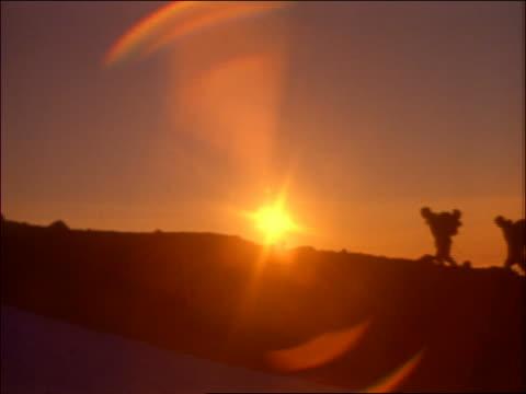 silhouette of hikers on mountain at sunset - エコツーリズム点の映像素材/bロール