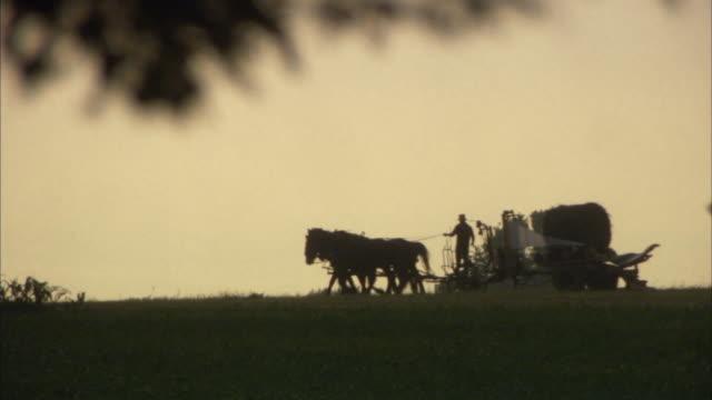 stockvideo's en b-roll-footage met ws silhouette of horse drawn passing across landscape at dusk / philadelphia, pennsylvania, usa - paard en wagen