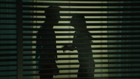 stockvideo's en b-roll-footage met silhouette of male & female arguing - frustratie