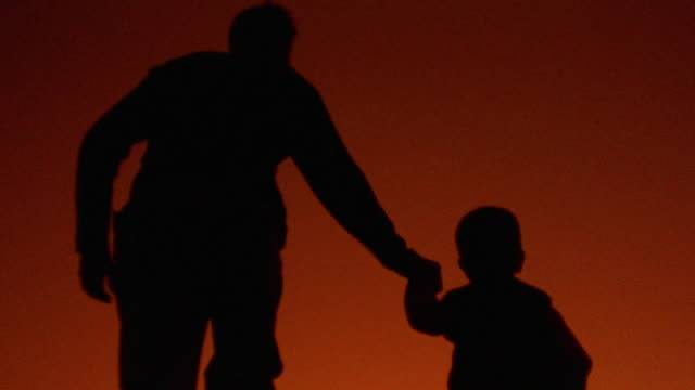 orange rear view silhouette of man holding hands with boy, picking up boy + walking away from camera - family with one child stock videos & royalty-free footage