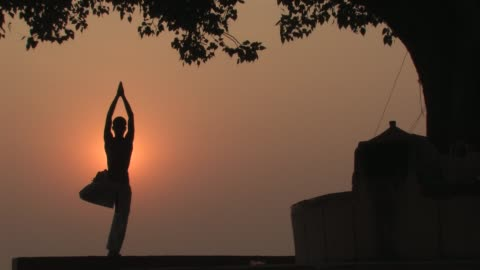 vídeos y material grabado en eventos de stock de ws, silhouette of man performing yoga at sunrise, varanasi, uttar pradesh, india - vriksha asana