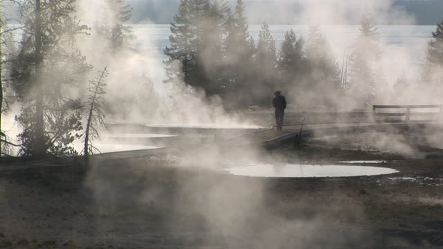 MS, Silhouette of man walking by geysers, West Thumb Geyser Basin, Yellowstone National Park, Wyoming, USA
