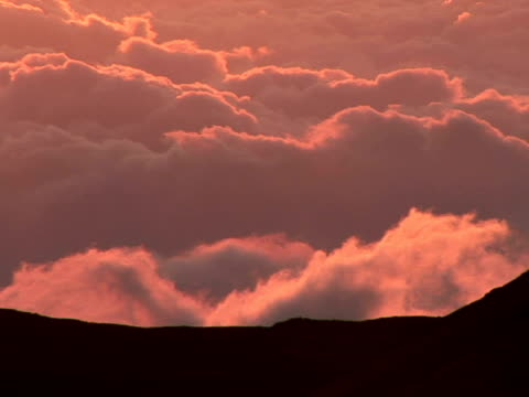 ms, shaky  silhouette of mauna kea against pink clouds at sunset, the big island, hawaii, usa - shaky stock videos & royalty-free footage