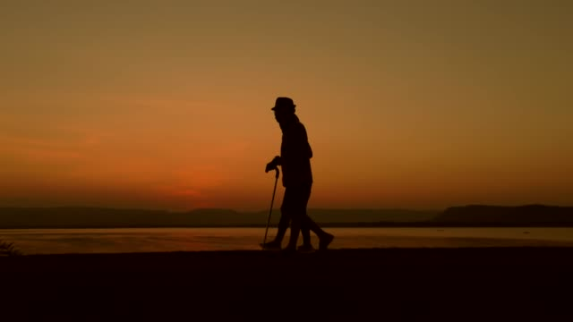 silhouette of old man using staff walking with his daughter during sunset, concept a rehabilitation after injury, slow motion - alzheimer's disease stock videos & royalty-free footage