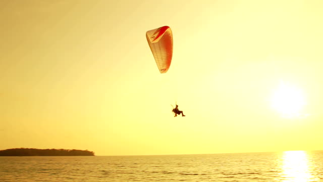 silhouette of paragliding at sunset over tropical beach - paragliding stock videos & royalty-free footage