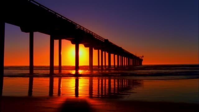 WS, Silhouette of pier at sunset, La Jolla, San Diego, California, USA