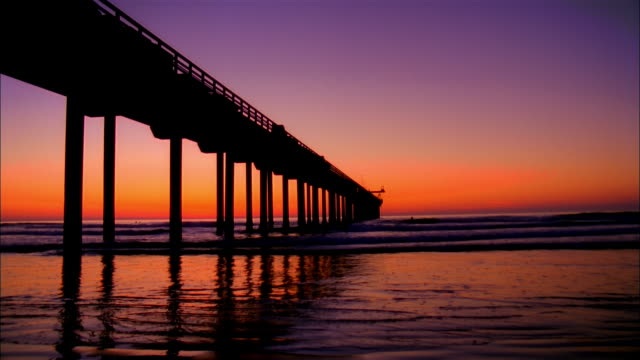 WS, Silhouette of pier at sunset, La Jolla, San Diego, California, USA