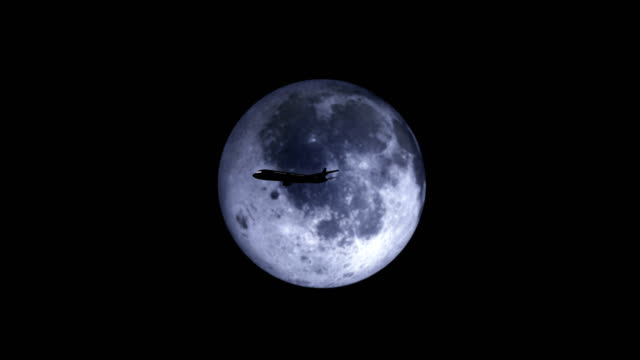 silhouette of plane passing over super moon - full moon stock videos & royalty-free footage