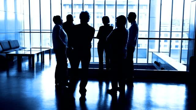 vidéos et rushes de hd: silhouette de groupe de personnes âgées parler - silhouette contre jour