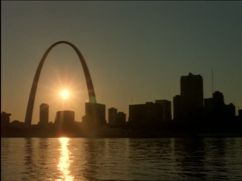 Silhouette of St Louis skyline at sunset with river in foreground