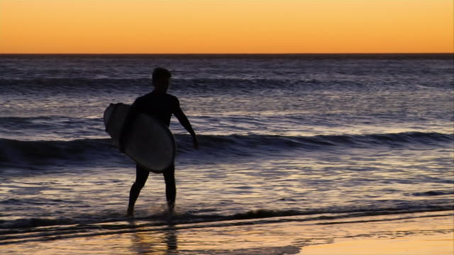 ms, pan, silhouette of surfer carrying surfboard in ocean at sunset, venice, california, usa - nordpazifik stock-videos und b-roll-filmmaterial