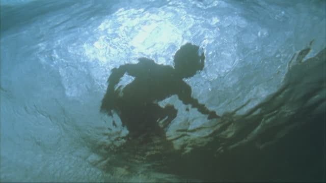 SLO MO MS LA Silhouette of surfer riding wave, underwater view, Oahu, Hawaii, USA