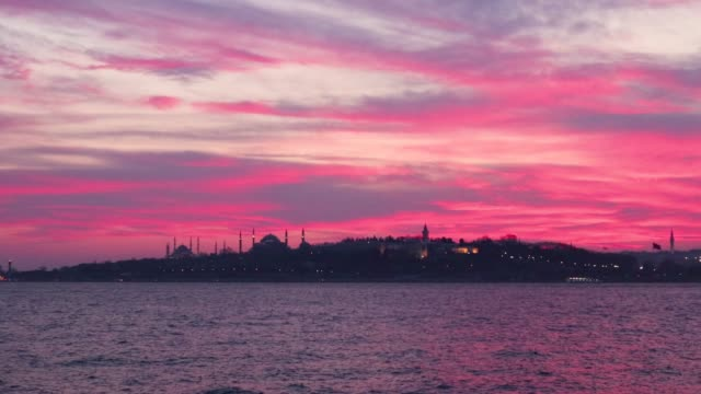 Silhouette of The Blue Mosque and Hegia Sophia at Sunset, Istanbul