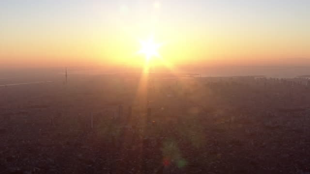 aerial, silhouette of tokyo after year's first sunrise, japan - 日の出点の映像素材/bロール