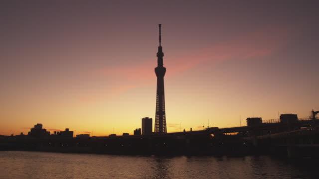 silhouette of tokyo sky tree tower in tokyo,japan - スカイツリー点の映像素材/bロール