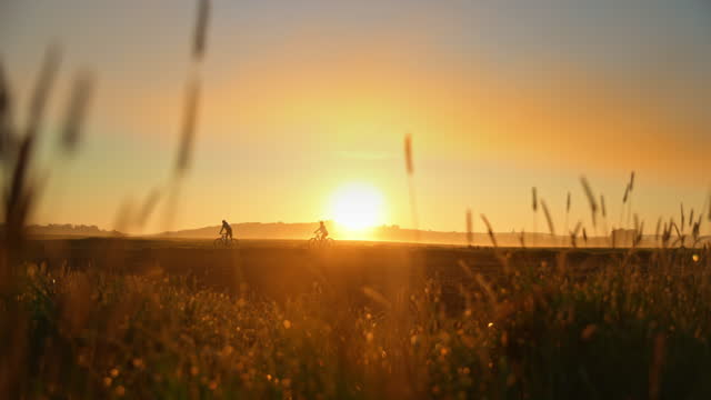 slo mo silhouette of two cyclists riding mountain bikes in the countryside at sunset - 1 minute or greater stock videos & royalty-free footage