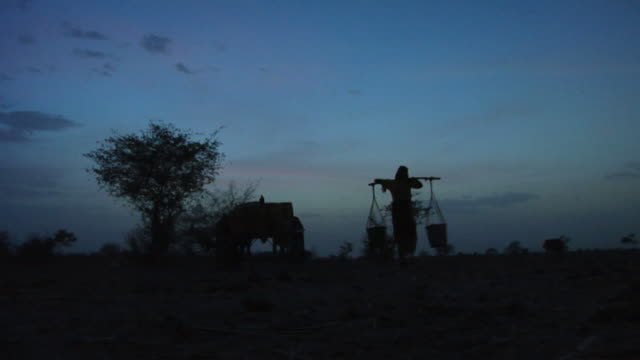 ws, silhouette of woman carrying buckets of water at dusk, niamey, niger - ニジェール点の映像素材/bロール
