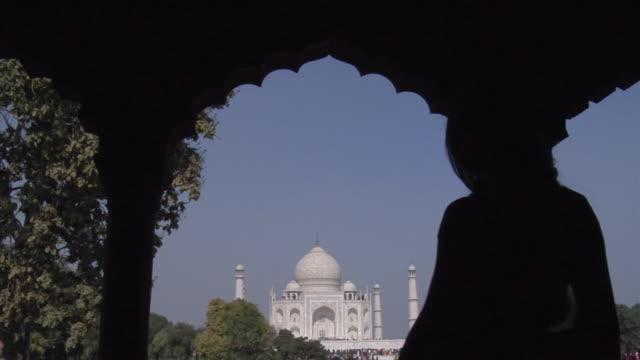 slo mo, ms, silhouette of woman dancing under arcade, taj mahal in background, agra, uttar pradesh, india - sari stock videos and b-roll footage