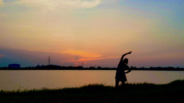 silhouette of woman exercise