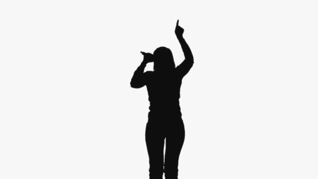CGI Silhouette of woman gesturing and singing on white background
