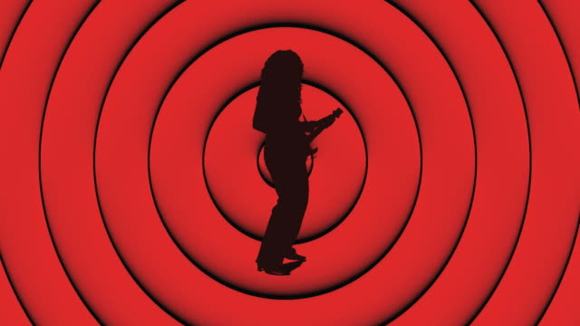 cgi silhouette of woman playing guitar on red circle background - only mid adult women stock videos & royalty-free footage