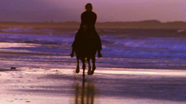 pan silhouette of woman riding horse on beach towards camera / ireland - ウマ点の映像素材/bロール