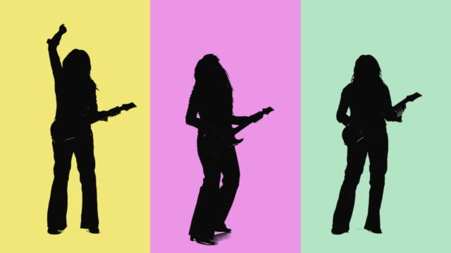 CGI Silhouette of women playing guitar on rainbow background