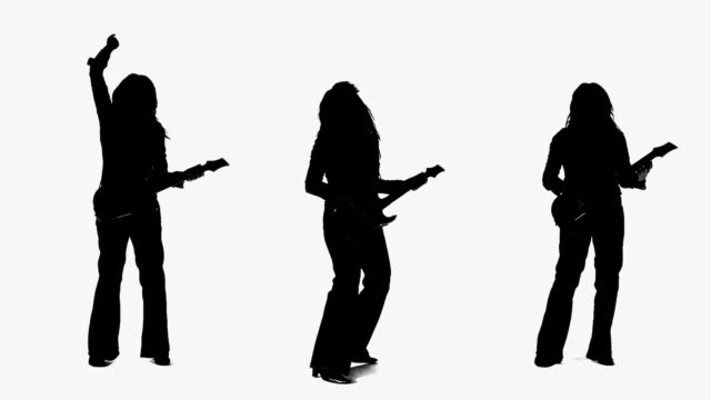 cgi silhouette of women playing guitar on white background - only mid adult women stock videos & royalty-free footage