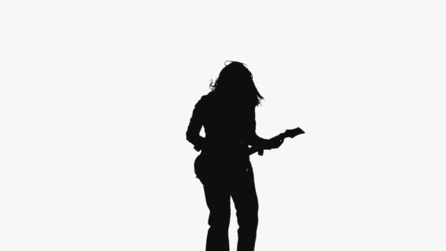 cgi silhouette of women playing guitar on white background - one mid adult woman only stock videos & royalty-free footage