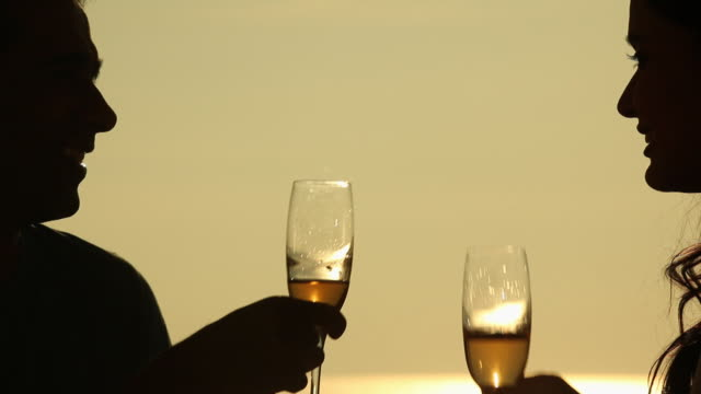 silhouette of young couple drinking champagne  - champagne stock videos & royalty-free footage