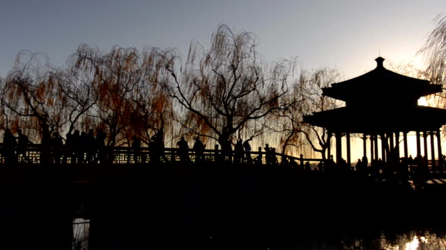 silhouette panning: chinese styled pavilion in summer palace - summer palace beijing stock videos & royalty-free footage