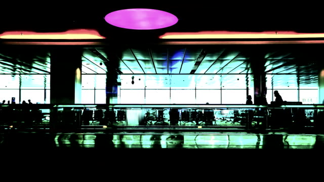 silhouette people in terminal of airport,time lapse. - full hd format stock videos & royalty-free footage