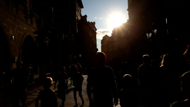 silhouette people street in mala strana - river vltava stock videos & royalty-free footage