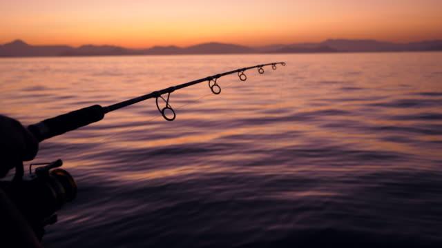 silhouette scene of fisherman hold fishing rods beside tranquil ocean at sunrise - canna da pesca video stock e b–roll