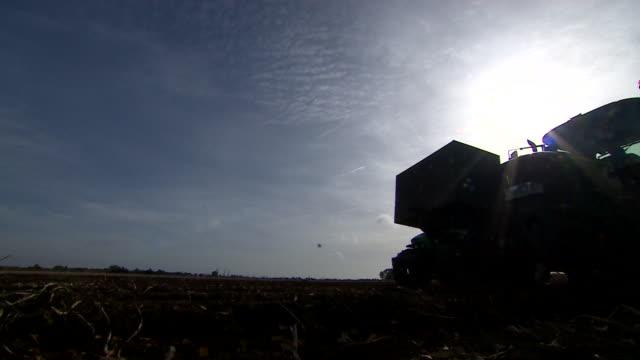 vídeos y material grabado en eventos de stock de silhouette shot of tractors harvesting potatoes from a field - tierra cultivada