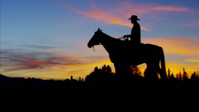 Silhouette sunset of Cowboy Rider Ranch wilderness Canada